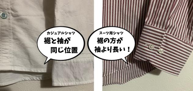 裾と袖の位置の比較